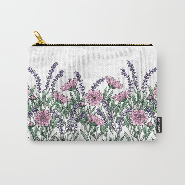Pink and Lavender Floral Fields Carry-All Pouch