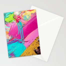 Abstract Acrylic brushstrokes and sequins Stationery Cards