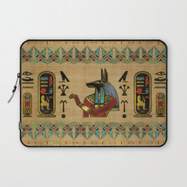 Egyptian Anubis Ornament on papyrus Laptop Sleeve