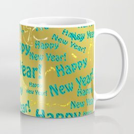 new blue Colorful design happy new year text in gold, festive, elegant gift for anyone in the family Coffee Mug