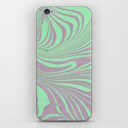 Violet mint green abstract watercolor marble iPhone Skin
