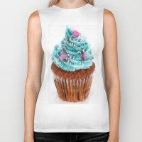 cupcake Biker Tanks featuring Cupcake by Manuela Mishkova