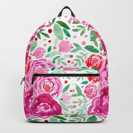 Watercolor roses bouquet - pink and green Backpack