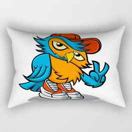 owl cartoon in hip-hop hat. Rectangular Pillow