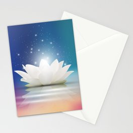 Elegant Gentle  White  Lotus / Lily flower Stationery Cards