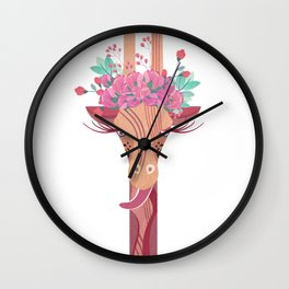 Giraffe with a crown of roses Wall Clock