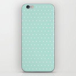 Aqua blue and White cross sign pattern iPhone Skin