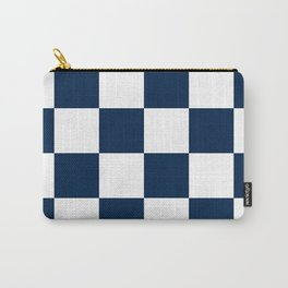 Large Checkered - White and Oxford Blue Carry-All Pouch