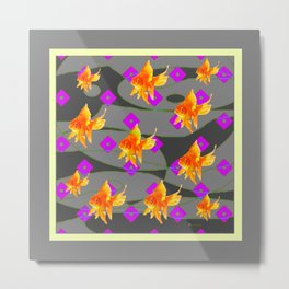 Decorative Gold Fish Modern Grey  Abstract Metal Print