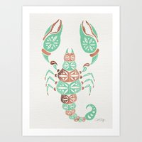 rose gold Art Prints featuring Scorpion – Mint & Rose Gold by Cat Coquillette