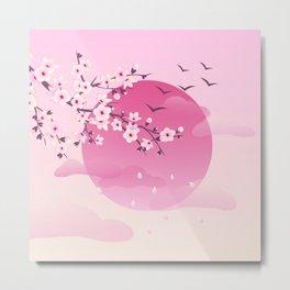 Japanese Cherry Blossom Pink Metal Print