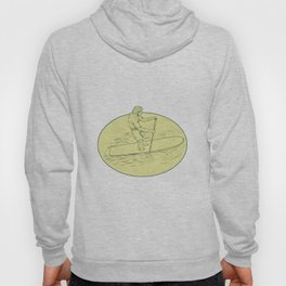 Surfer Dude Stand Up Paddle Oval Drawing Hoody