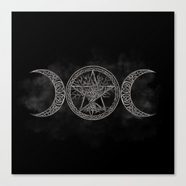 Triple Moon with pentagram and tree of life Canvas Print