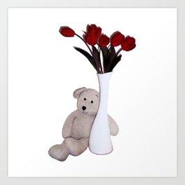 Teddy with Rose Art Print