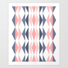 Triangle Pattern in Blush and Slate Art Print