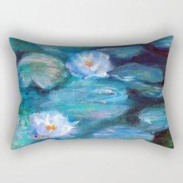 Blue Water Lilies Rectangular Pillow