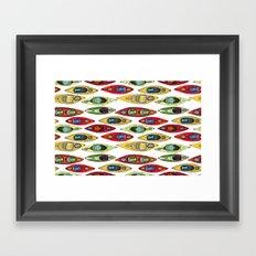 I Heart Kayaks Pattern Framed Art Print
