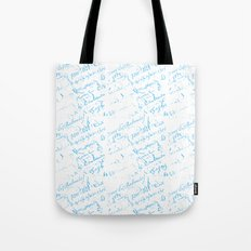 French Script in blue on white Tote Bag