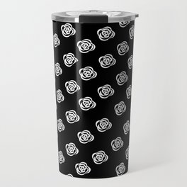 White Rose, Black Background Travel Mug