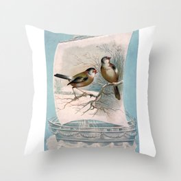 Vintage Birds on a Boat Throw Pillow