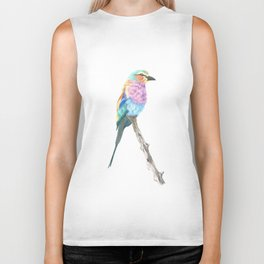 Lilac Breasted Roller - Colored Pencil Biker Tank