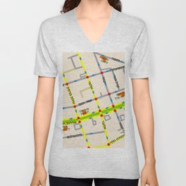 Tel Aviv map - Rothschild Blvd. Hebrew Unisex V-Neck