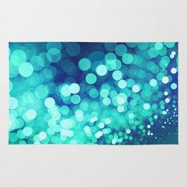 Aqua Blue Glitter Wave Rug