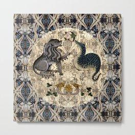 Tudor Pattern Book Lynx and Lizard Metal Print