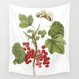 Botanical Print, Red Currant, Ribes Rubrum Wall Tapestry