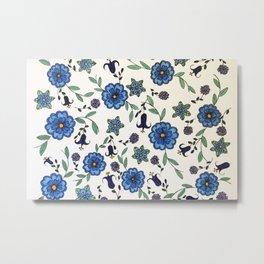 Blue and purple floral design Metal Print