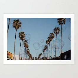Bubbles & Palm Trees Art Print