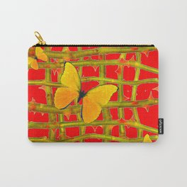 YELLOW BUTTERFLIES & RED THORN LATTICE Carry-All Pouch