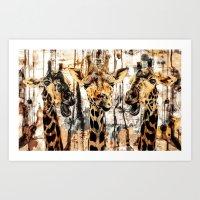 giraffes Art Prints featuring Giraffes by RIZA PEKER