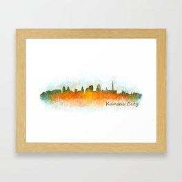 Kansas City Skyline Hq v3 Framed Art Print
