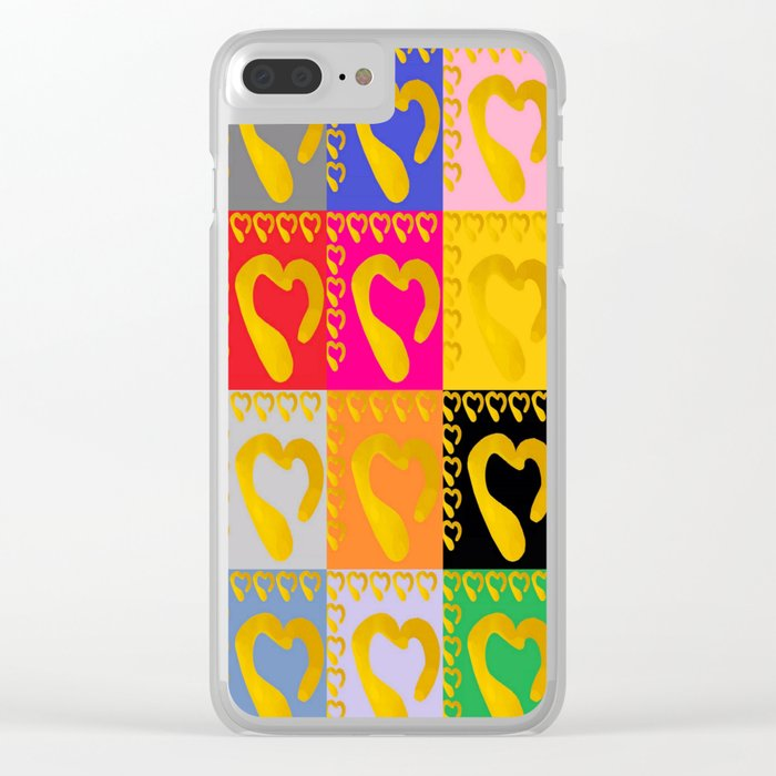 Gold Hearts on colorful Stamp Clear iPhone Case