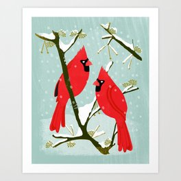 Winter Cardinals by Andrea Lauren  Art Print