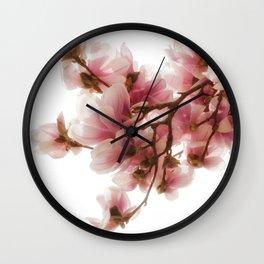 Magnolia tree, pretty pink blooms Wall Clock