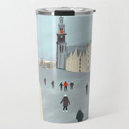 Ice Skating in Amsterdam Travel Mug