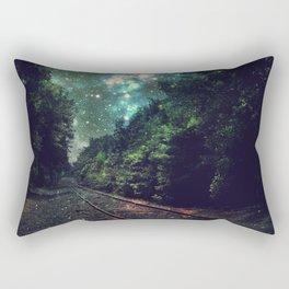 Train Tracks Next Stop Anywhere Teal Green Rectangular Pillow
