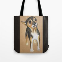 chihuahua Tote Bags featuring Chihuahua by PaperTigress