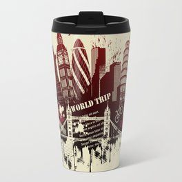 figures on international sites in grunge illustration Travel Mug