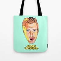 queens of the stone age Tote Bags featuring Josh Homme, Queens of the Stone Age by Morgane Dagorne