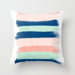 Stripes painterly pastel trendy color way modern home decor dorm nursery style Throw Pillow