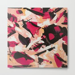 Bloom where you are planted | pink black coral abstract acrylic painting Metal Print