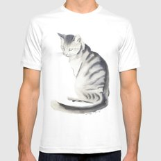 Cat art MEDIUM White Mens Fitted Tee