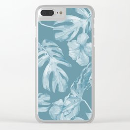 Tropical Escape Teal Blue Leaves + Hibiscus Clear iPhone Case
