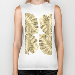 Gold Monstera Leaves on White Biker Tank