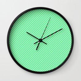 Mini Lanai Lime Green - Acid Green and White Candy Cane Stripe Wall Clock