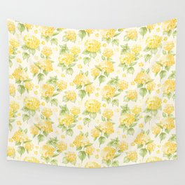 Modern  sunshine yellow green hortensia flowers Wall Tapestry
