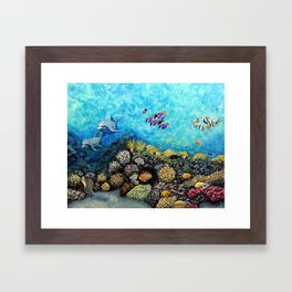 Take Me There - seascape with dolphins Framed Art Print